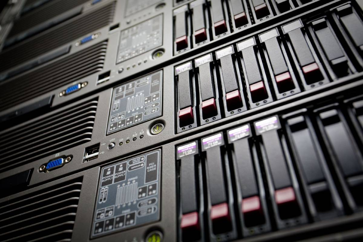Closeup of stacked servers