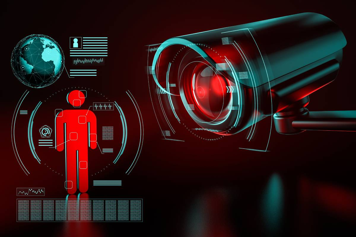 Big Surveillance Camera Focusing on Human Icon Collecting Data, 3D Rendering
